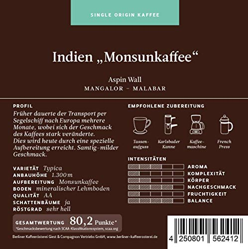 BKR | Kaffee | Indien | Monsunkaffee Aspin Wall | Arabica | Single Origin 1000g Bohne