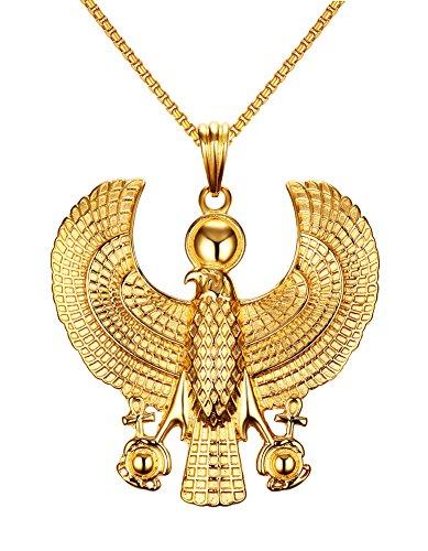 VNOX Men's Women's Stainless Steel Egyptian Horus Eagle Pendant Necklace Gold,Free Chain