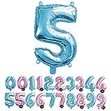 Haioo Globo Número de Cumpleaños en Metalizado Ideal para Fiesta de cumpleaños y Aniversarios Hinchable y Deshinchable (Azul 5)
