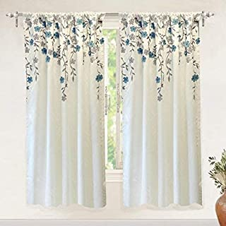DriftAway Isabella Faux Silk Embroidered Window Curtain Embroidered Crafted Flower Lined with Thermal Fabric Single Panel 50 Inch by 63 Inch Ivory Blue