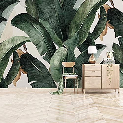 ZZIAO Carta da parati Foglie di banano grande murale Wallpape soggiorno decorazione della parete fotomurali poster murale Soggiorno camera letto minimalista tv sfondo-350cm×256cm