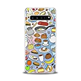 Anreda Silicone Phone Case for Samsung Galaxy S20 S10 5G Note 10 Plus S9 S8 S7 Cover Bright Theme Print Clear Smooth Dishes Flexible Chef Design Silicone Tasty Women Food Girl Kid Slim fit Soft Gift