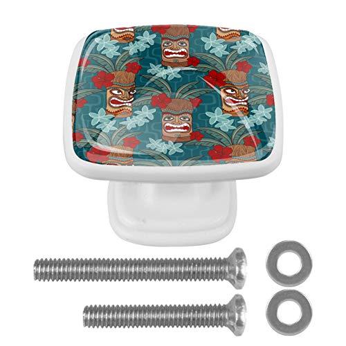 [4 unidades] pomos de aparador, coloridos tiradores decorativos para decoración del hogar, accesorios para decoración del hogar, máscara Tiki