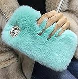 Losin Plush Case Compatible with Samsung Galaxy S10 Plus Case Fashion Luxury Diamond Bowknot Cute Fuzzy Furry Winter Rabbit Hair Warm Plush Fluffy Fur Soft TPU Back case