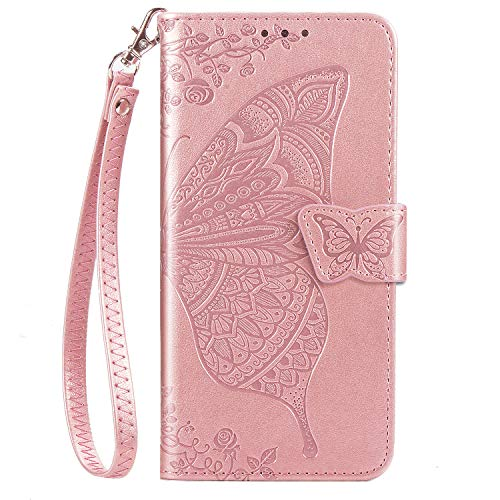 DiGPlus Galaxy A10E Wallet Case, [Butterfly & Flower Embossed] Premium PU Leather Wallet Flip Protective Phone Case Cover with Card Slots and Stand for Samsung Galaxy A10E 2019 Released (Rosegold)