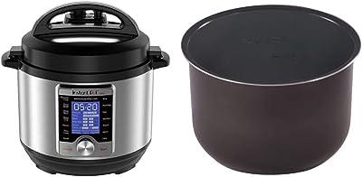 Instant Pot Ultra 3 Qt 10-in-1 Multi- Use Programmable Pressure Cooker, Silver & Pot Ceramic Non Stick Interior Coated Inner Cooking Pot Mini 3 Quart