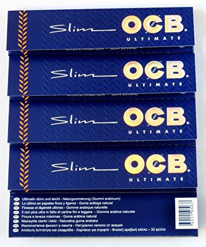 5 Hefte OCB ULTIMATE SLIM dünnste Rollen Papier King Size