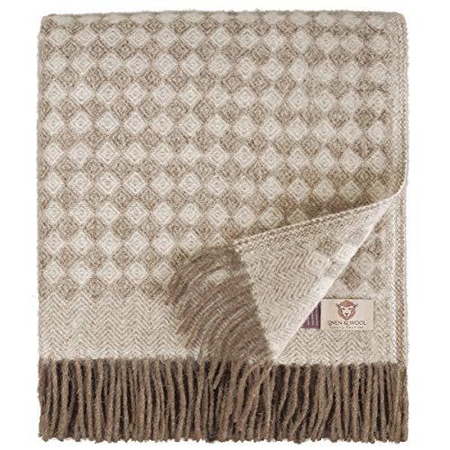 Linen & Cotton Manta Sofa/Mantas de Cama de Lujo Paris Sarga Diamante - 100% Pura Lana Nueva Zelanda, Marrón/Natural (140 x 200cm) Plaid/Blanket/Funda Single Matrimonial de Lana Oveja