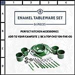 STANSPORT - Deluxe 24-Piece Enamel Tableware Set: Plates, Bowls, Mugs & Utensils