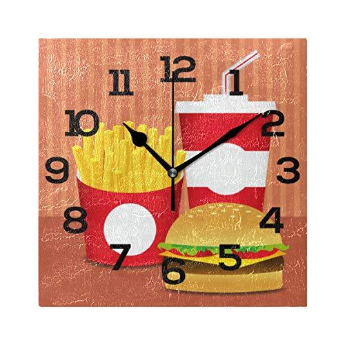 AMONKA - Reloj de Pared Cuadrado con diseño de Hamburguesa y Patatas Fritas, de acrílico silencioso, para decoración del hogar, Sala de Estar, Dormitorio, Cocina, Escuela, Oficina