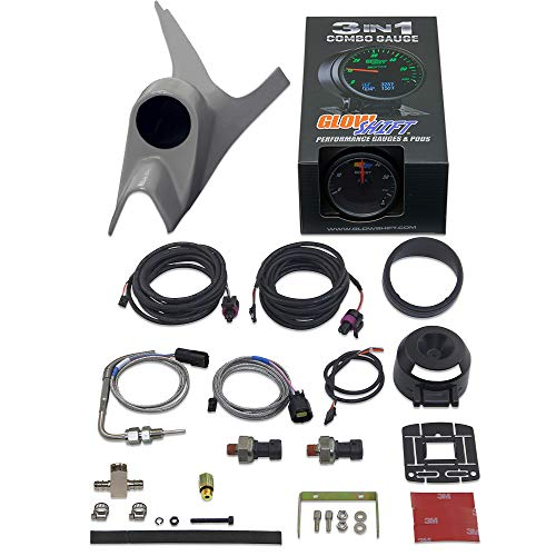 GlowShift 3in1 Diesel Gauge Package Compatible with Ford Super Duty F-250 F-350...