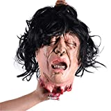 GYFHMY Halloween Scary Hanging Severed Head Props, Life-Size Cut Off Bloody Heads Decorations, Creepy Animated Zombie for Haunted Houses Party Funny Festive