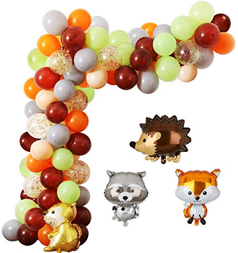 Woodland Party Balloon Garland Kit, Orange Brown Blush Green Confetti Balloons, Hedgehog, Squirrel, Fox, Raccoon Foil Balloons Ideal for Woodland Birthday Baby Shower Party Decorations Supplies