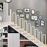Barandilla de barandilla de escalera en forma de U, barandilla de la barandilla de transición de hierro forjado para escaleras de interior y pasos al aire libre Villa Loft Corridor Balografía, Blanco