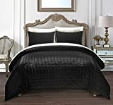 Chic Home Chyna 3 Piece Comforter Set Luxurious Hand Stitched Velvet Bedding - Decorative Pillow Shams Included, Queen, Black
