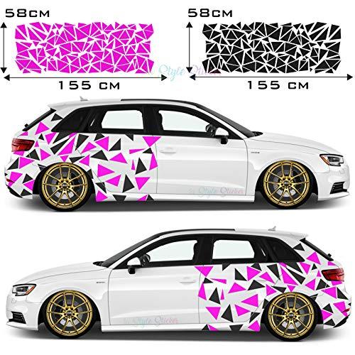 Auto Seitenaufkleber Dreiecke Autodekor Car-Tattoo Farbig Tarn-Look Camo Aufkleber 250 Stück Camouflage Style New Limited Editon Black Beast