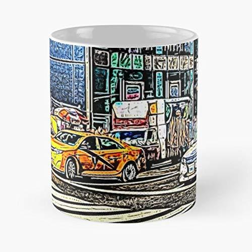 Art New People Street Peatones Departamento de Policía de York Car Best 11oz taza de café de cerámica Personalizar