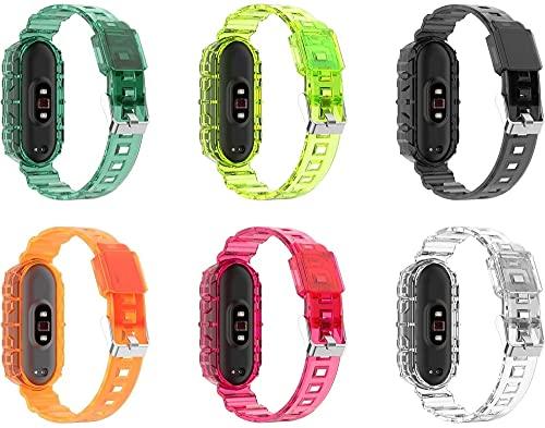 Correa de Reloj de Silicona Suave Compatible con Xiaomi Mi Band 5 / Xiaomi Mi Band 6 / Amazfit Band 5, Repuesto Ideal (6-Pack I)