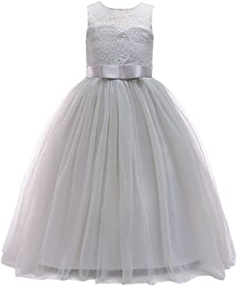Girls Lace Bridesmaid Dress Long A Line Wedding Pageant Dresses Tulle Party Gown Age 3-16Y