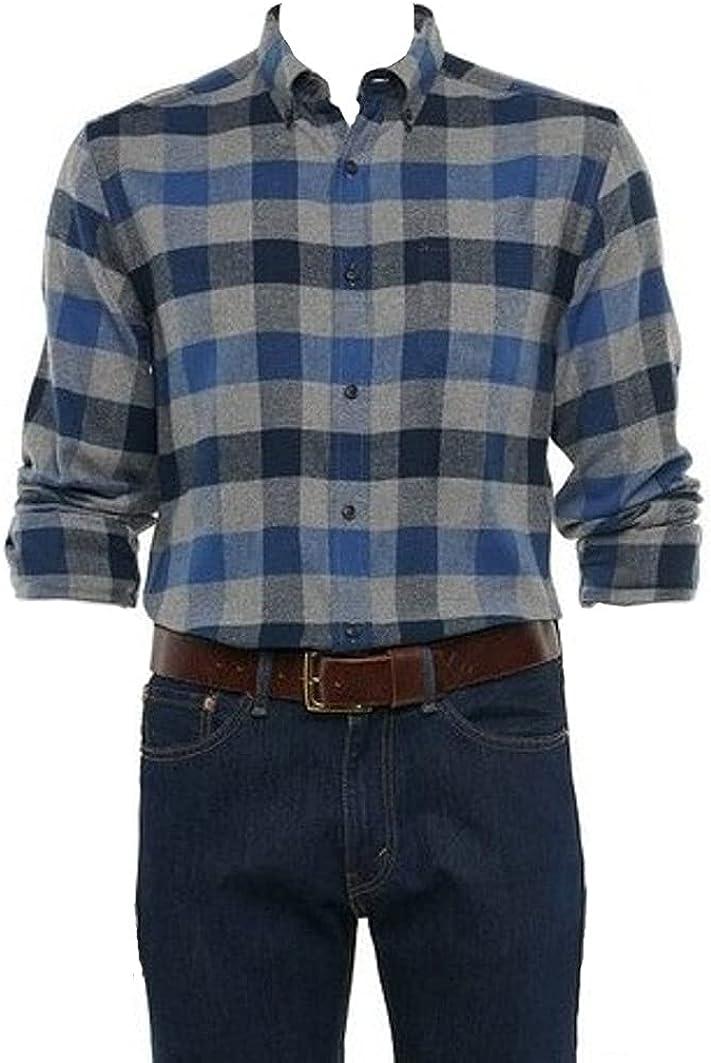 Men's Classic Fit Flannel Long Sleeves Shirt Blue Grey Buffalo Plaid Button Down