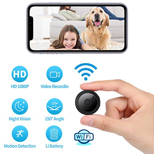 1080P Wi-Fi Spy Camera Wireless Hidden Camera Small Surveillance Camera Built-in Battery Nanny Camera, Night Vision Motion Detection Video Recording with iOS and Android Phone