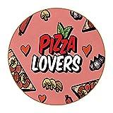 6 piezas posavasos de bebida colorido único súper fibra de cuero antideslizante bebida redonda posavasos hermoso regalo amante de la pizza corazón setas salchicha rosa