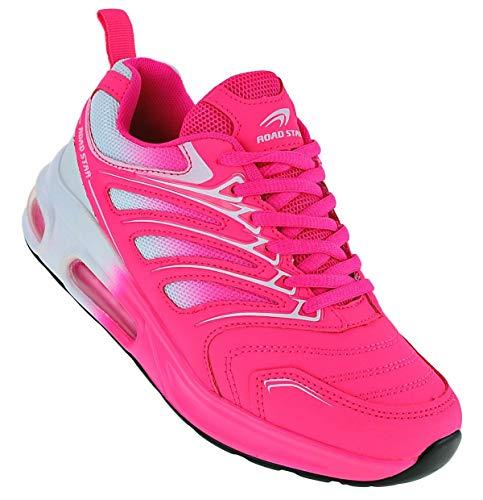 Roadstar Neon Turnschuhe Sneaker Sportschuhe Unisex Boots 095, Schuhgröße:39, Farbe:Weiß/Pink