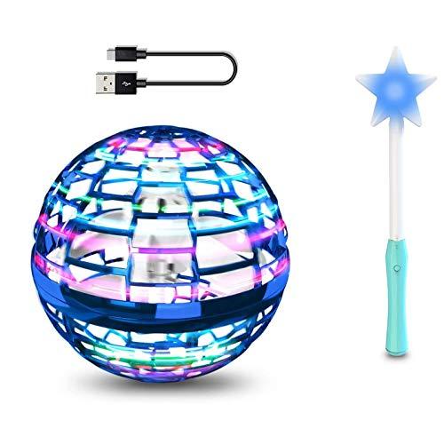Juguete mágico de bola voladora con varilla mágica, recarga USB, rotación de 360 Mini Drone Flying Ball con luz LED colorida, Hover libremente Flynova Pro Spinner, Magic Controller Mini Drone Toy