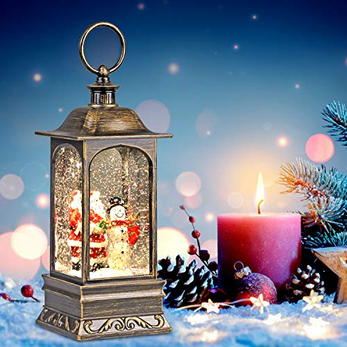 Heasylife Weihnachts-Schneekugel-Laterne mit wirbelndem Wasser, das für Weihnachtsdekoration und -Geschenk (Santa) glitzert