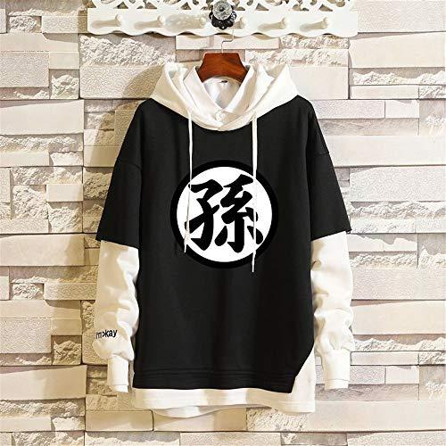 WOONN Sudaderas Hombres con Capucha Hoodie Hombre Camiseta De Manga Larga Negro Chaqueta con Sombrero Pullover Hoodie Sweatshirt Niños Ropa Niño Dragon Ball Goku,XS