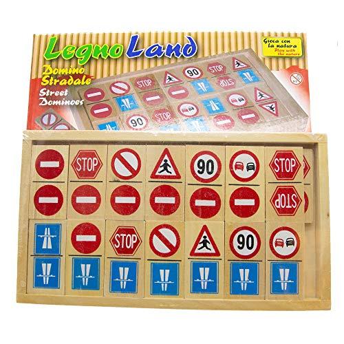 Giochi didattici Domino segnali stradali da 28pz, Gioco didattico per Imparare Le Regole stradali con 28 Tessere in Legno, Domino in Legno 28 pz con segnali stradali Misura Art.:28x15cm