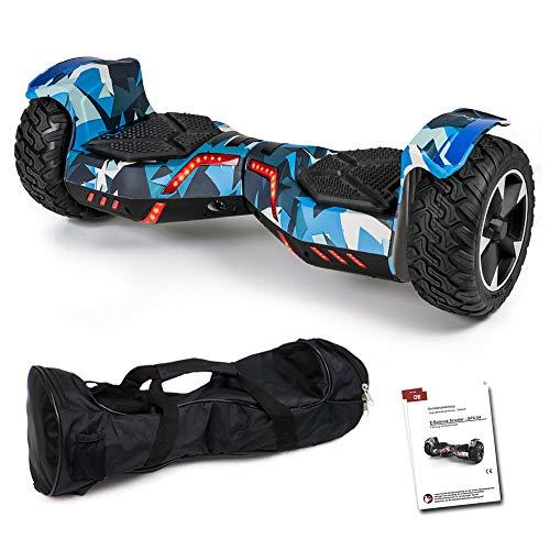 Smartway Balance Scooter 8,5 Zoll 800 W - SUV Ares GPX-04 mit App Funktion, Bluetooth Lautsprecher, Kinder Sicherheitsmodus, Elektro Self Balance Board E-Scooter Hover Wheel (camo/blau)