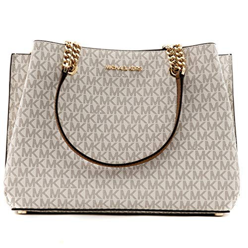 """Michael Kors Logo at Front Gold Toned Hardware Snap Top Closure 4 Bottom Feet on the bag Custom Fabric Lining 3 Compartments with Middle Zipper Compartment Strap:18""""-22"""" No Inner Pockets 1 Zipper Pocket 2 Open Pockets Measures 12"""" (L) X 9""""(H) X 6""""(D)..."""