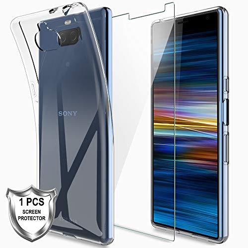 LK Kompatibel mit Sony Xperia 10 Hülle mit 1 Stück Displayschutz Schutzfolie, Klar Schutzhülle Transparent TPU Silikon Handyhülle Durchsichtige Case Cover, Crystal Clear