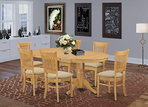 East West Furniture 7-Piece Dining Table Set, Microfiber Upholstered Seat, Oak Finish