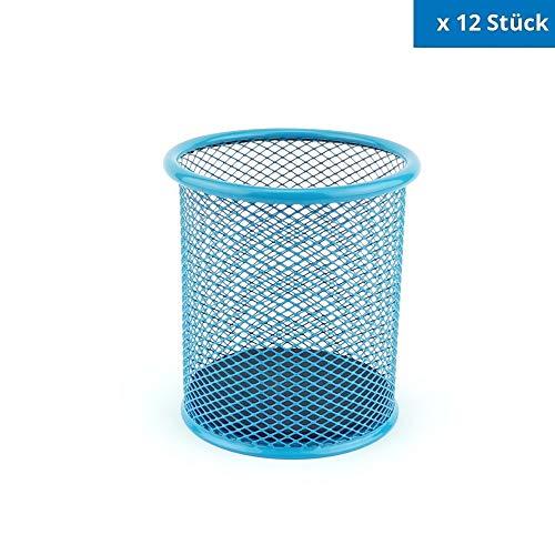 Leviatan Metalen pennenkoker, mesh, multifunctioneel, Ø91Mm, beker voor balpen, blauw, 12 stuks