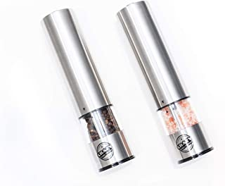 Battery Operated Gourmet Stainless Steel Salt & Pepper Mill/Grinder Set with Light by Crazy Fun Living-Easy Touch Button Powered with Adjustable Coarseness for Peppercorns & Pink Himalayan & Sea Salts