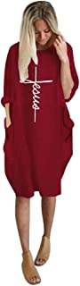 Shusuen Women' s Baggy Blouse Tops Ladies Oversized Round Neck Pullover with Pocket