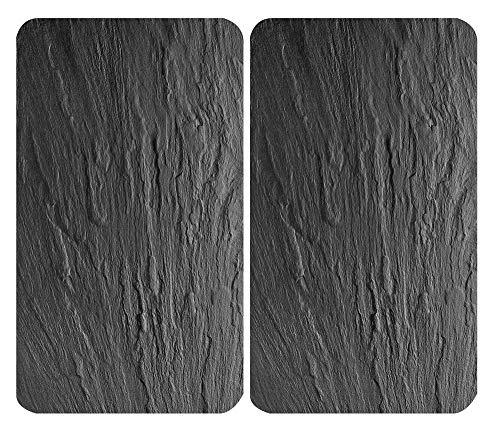 WENKO 3 in 1 Herd-Abdeckplatten, Schneidbretter, Arbeitsplatten, Glas, in Schiefer-Optik, je 52 x 30 cm, 2er-Set
