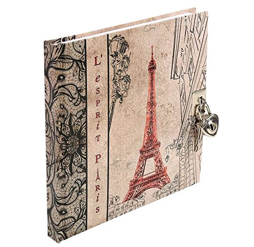Tagebuch mit Schloss - Esprit Paris Classic liniert 17 x 16 cm verschiedene Motive (Eifelturm, Rot)