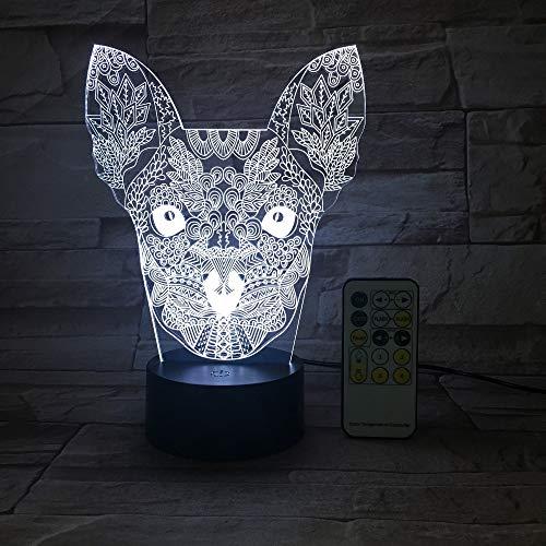 Big Ear Cat & Acrylic engraient Gradient 669 Night Light 3D LED Lámpara de mesa niños regalo de cumpleaños decoración de la habitación junto a la cama