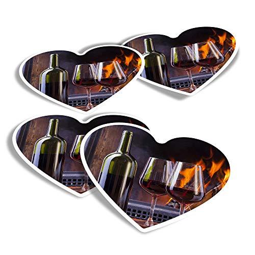 Pegatinas de vinilo con forma de corazón (juego de 4) – Vinos tintos, diseño interior divertido para ordenadores portátiles, tabletas, equipaje, reserva de chatarra, frigoríficos #16282