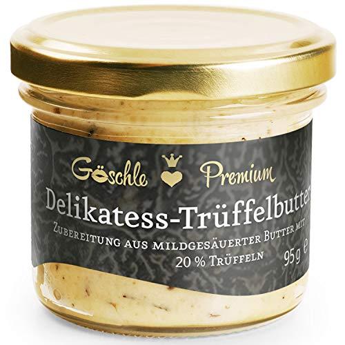 Die Trüffelmanufaktur - Feinkost Trüffelbutter Premium mit 20% echtem frischen schwarzem Trüffel, die Delikatesse für Feinschmecker, weiße Trueffel-Butter im Glas á 95 g - Made in Germany