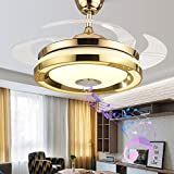 TFCFL 42'' Modern Music Ceiling Fan with Light, Invisible Smart Chandelier Fan with Bluetooth Player Remote Control 4 Retractable Blades 3 Colors for Dining Room Bedroom (Gold)