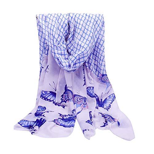 TaoRan Vlindersjaal dames zomer zonnecrème Europese en Amerikaanse mode nieuw ruitpatroon lange hak comfortabele wilde sjaal sjaal