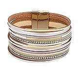 Emibele Layered Leather Bracelet, Bohemian Style Multilayer Bracelet with Metal & Diamond