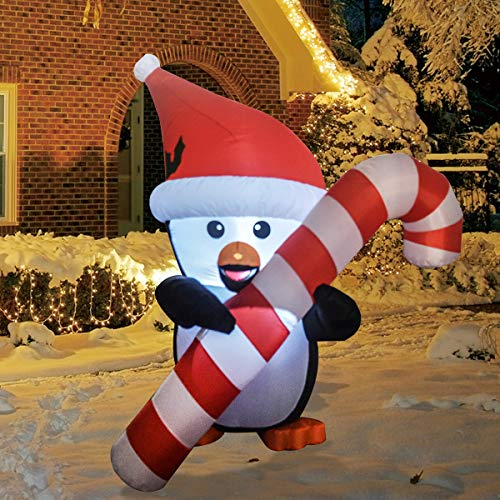GOOSH 5Foot High Christmas Inflatable Blow ups Penguin with Cane Holiday Yard Decoration, Indoor Outdoor Garden Inflatables Christmas Decorations.