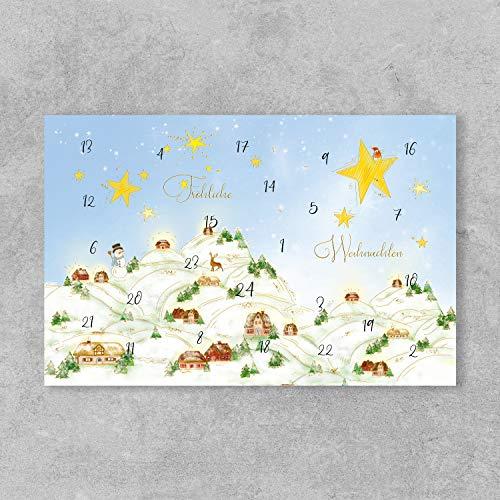 PremiumLine Weihnachtskarten Adventskalender 5 Stück inkl. Briefumschlag Fröhliche Weihnachten Grußkarte 11,5 x 17,5 cm Klappkarte Adventskalenderkarten