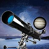 Reflector profesional Telescopio con priscador erecto de 90 °, telescopio for principiantes, longitud focal de 80 mm portátiles de 900 mm, telescopio de refractor con trípode y bolsa de transporte (co