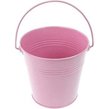 5-Inch Hot Pink, Homeford Firefly Imports Polka Dot Metal Pail Buckets Party Favor